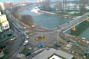 Blick auf den Fluss Bosna. City Zenica Webcam online